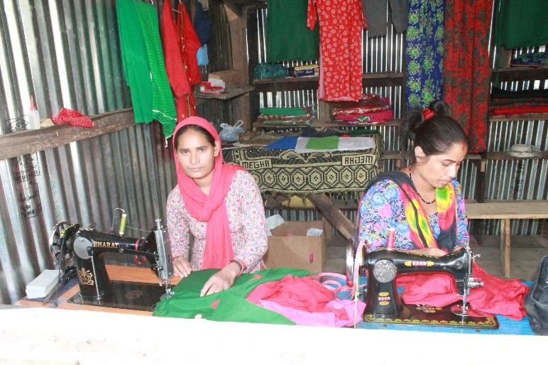 Ms. YasodaSarki is working her tailoring enterprise at Jorayal RM-2, BudarDoti